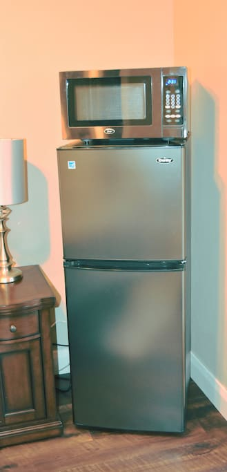 Larger than normal, freezer, refrigerator and microwave.