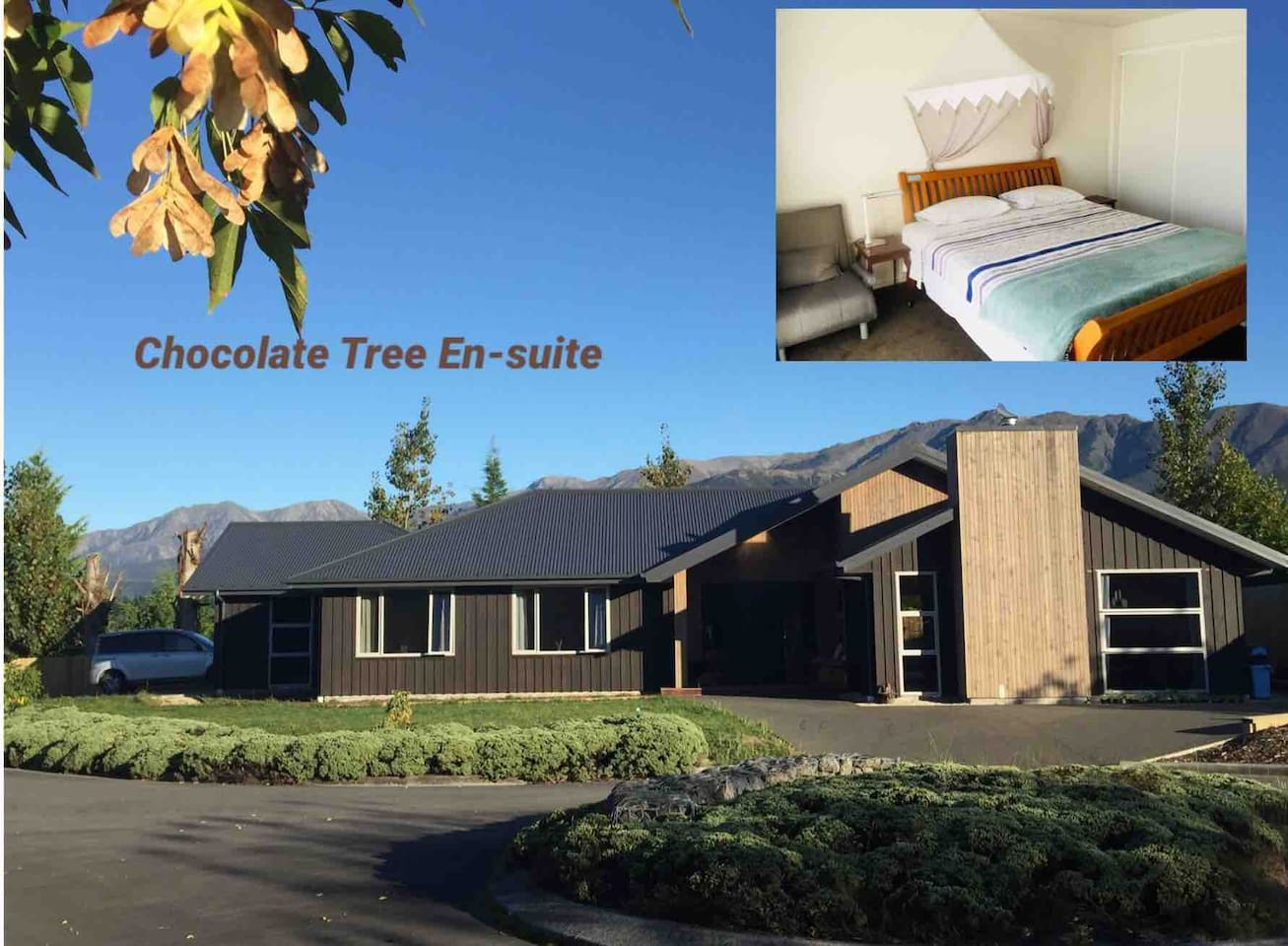 A lovely en-suite room in this new house with attempting dark chocolate color. Close to the forest reserve (1 minutes walk )and near the thermal pool(10 mins walk)