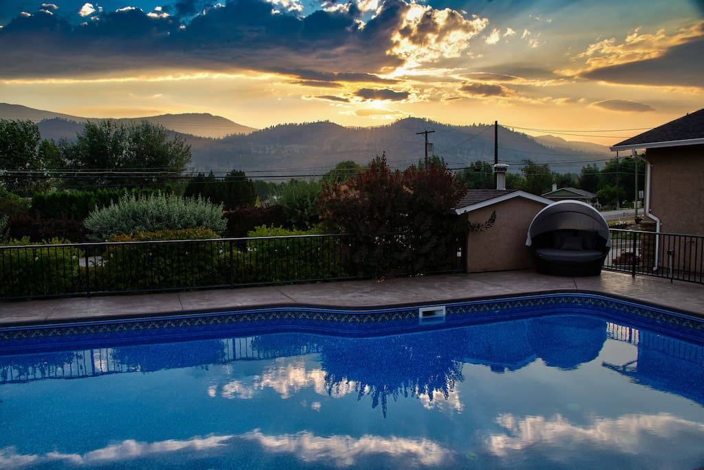 Setting summer sun - view from the pool deck.