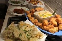 Alcune portate di un menù di pesce realizzato dalla nostra Chef Roberta