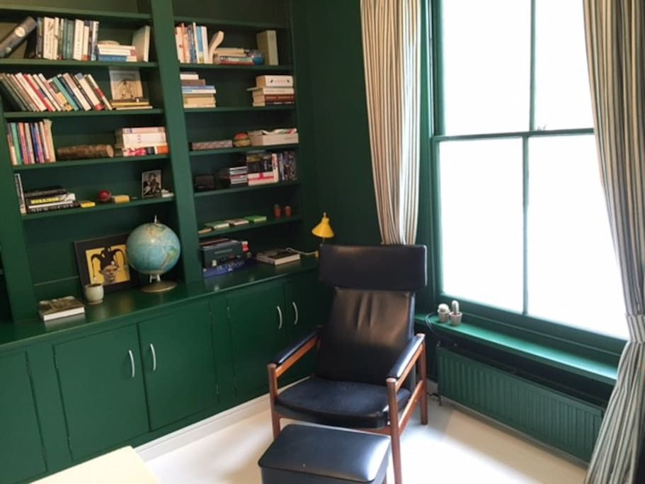 Green library - can work as extra bedroom with big air mattress