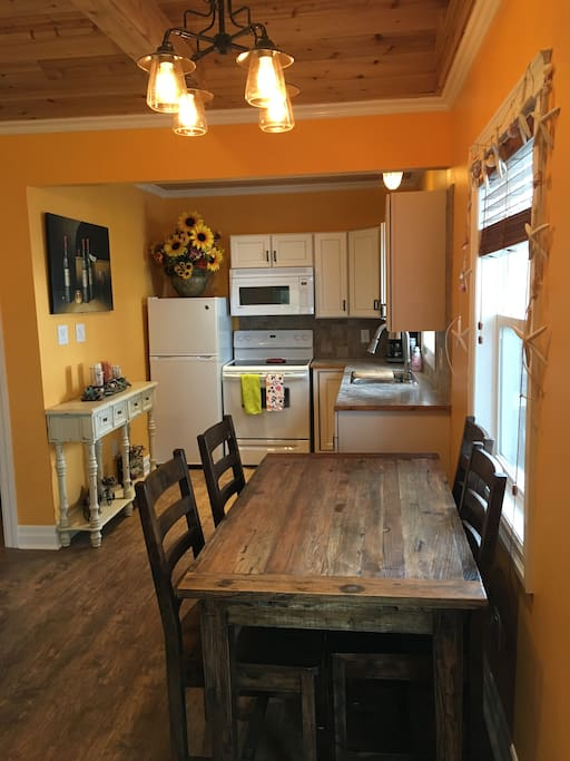Complete kitchen with all necessities.