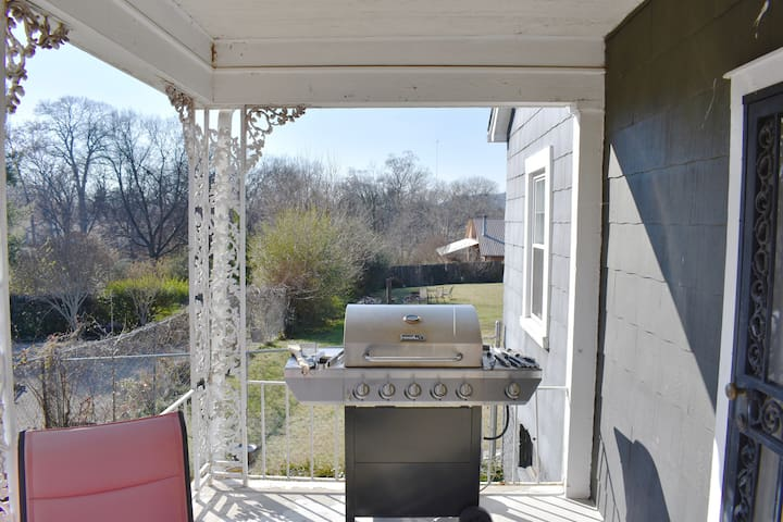 Gas grill on the covered porch is all ready for you to use!