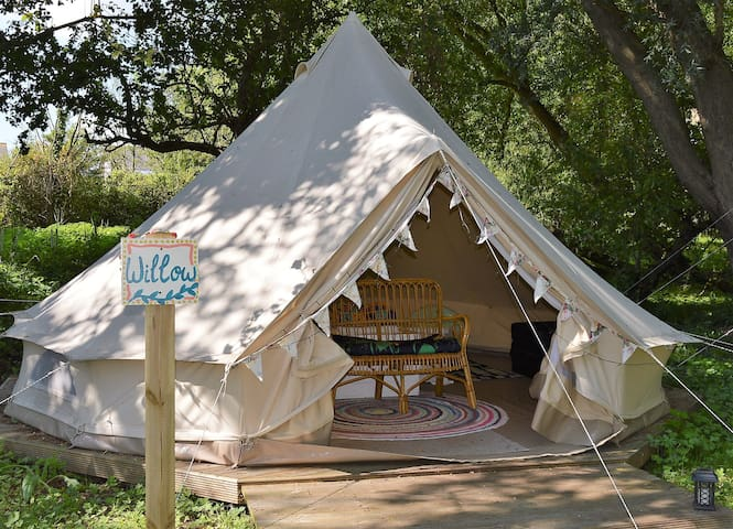 Secluded Glamping in Suffolk, bell tent Willow