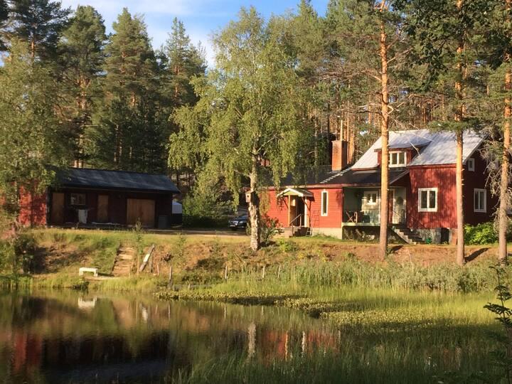 Hus med utsikt över tjärn i Svenska fjällvärden