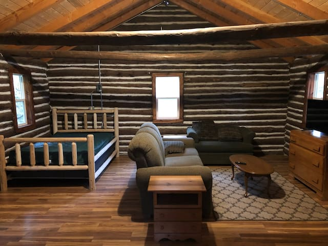 Full sized bed and living area