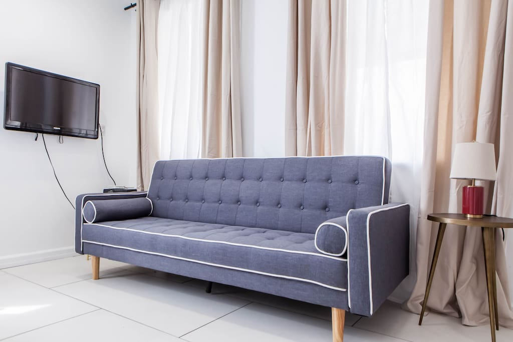 Sofa bed, opens to queen size bed for 2 pp