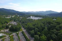 Direct overhead drone shot from the Manse.  The Greenbrier Resort pictured.