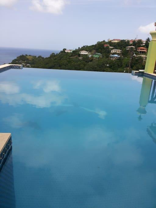 Infinity edge fresh water pool