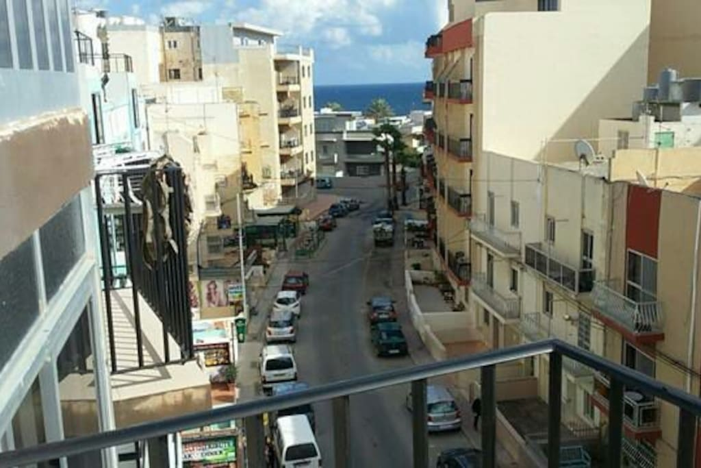 The Mediterranean Sea and part of the animated Tourist street from the balcony