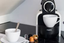 Nespresso coffee with capsules provided