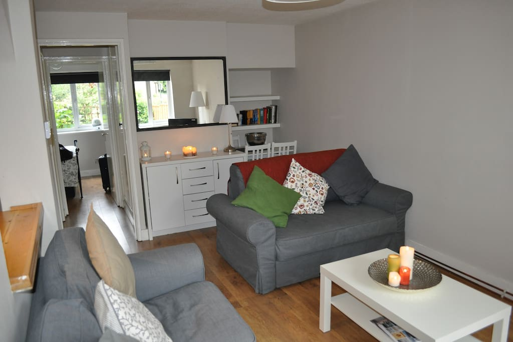 Sofa converts to sofa bed in living room