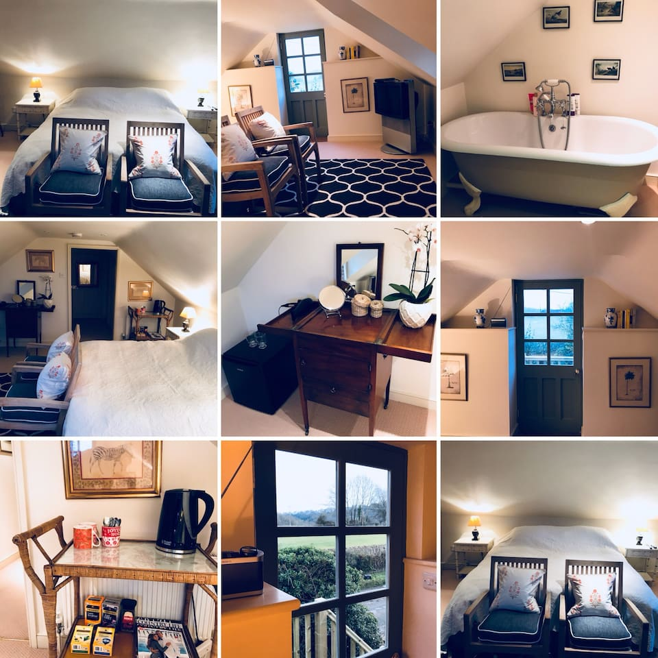 Super king bed, Bang & Olufsen Tv with satellite freeview channels, roll top Bath, small fridge providing bottled water, fresh organic milk, wine and water glasses, kettle, tea and coffee and a beautiful view.