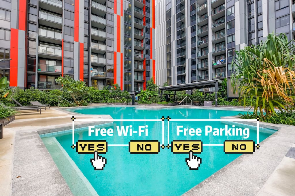 Free resort style Pool, Free unlimited high speed wifi and onsite parking available