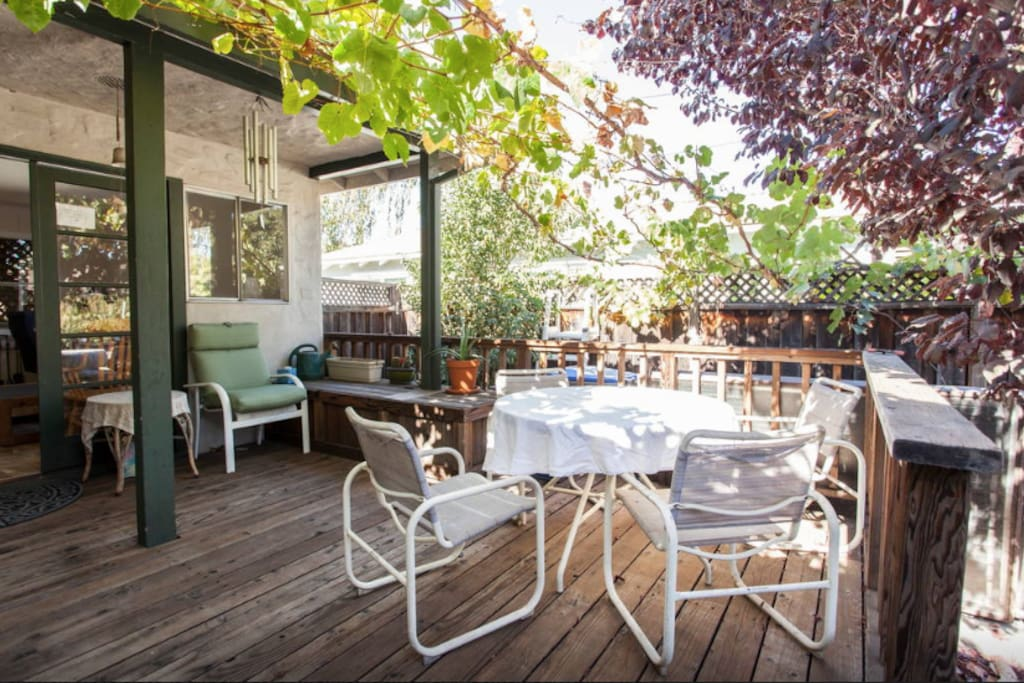 Nice comfy back deck to eat and hang out on