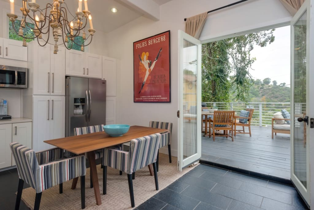 Dining table in open kitchen