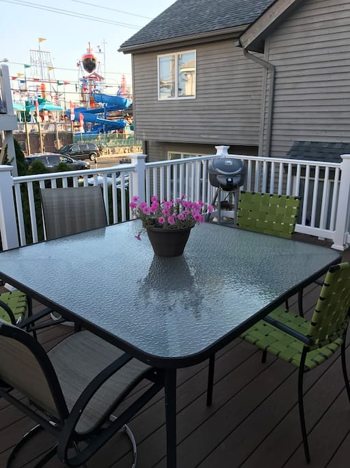 Large deck for entertaining along with a grill for us!