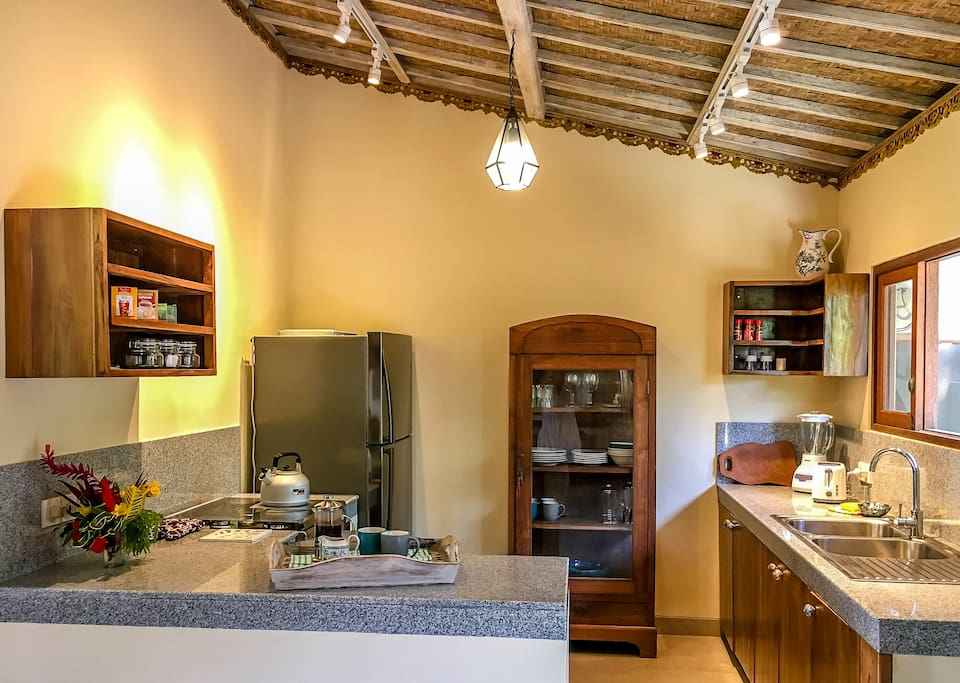Kitchen in the main house, with gas oven and hobs.