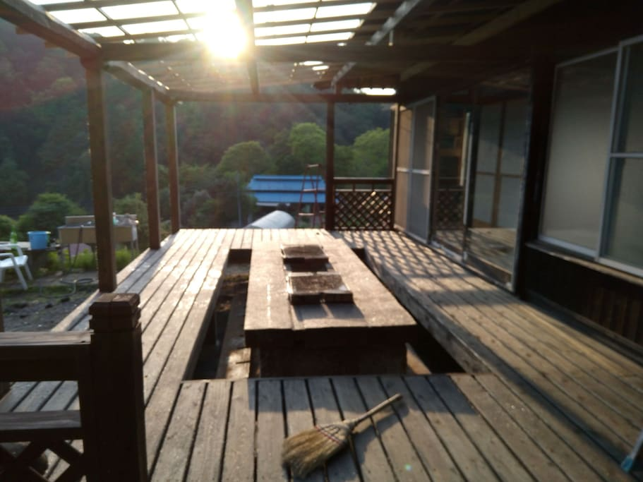 our new out door irori deck