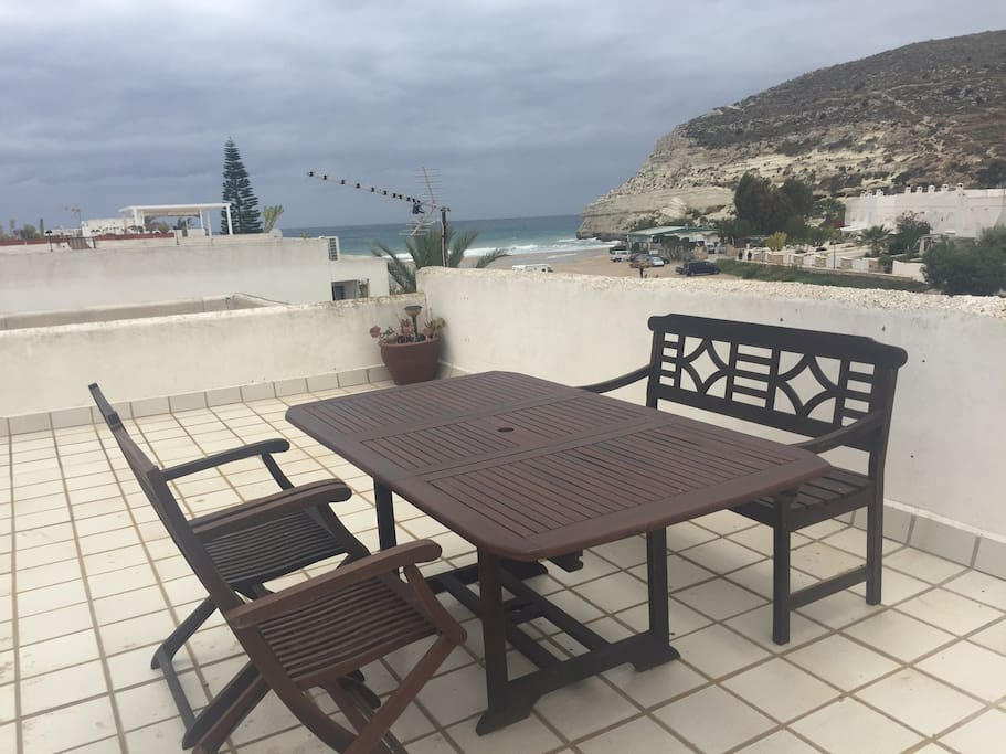 60m Private Roof Terrace Furniture and View