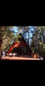 Stunning A-Frame cabin surrounded by redwoods.