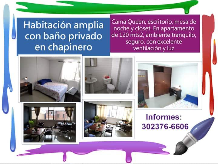 Amplia habitación con baño privado en Chapinero