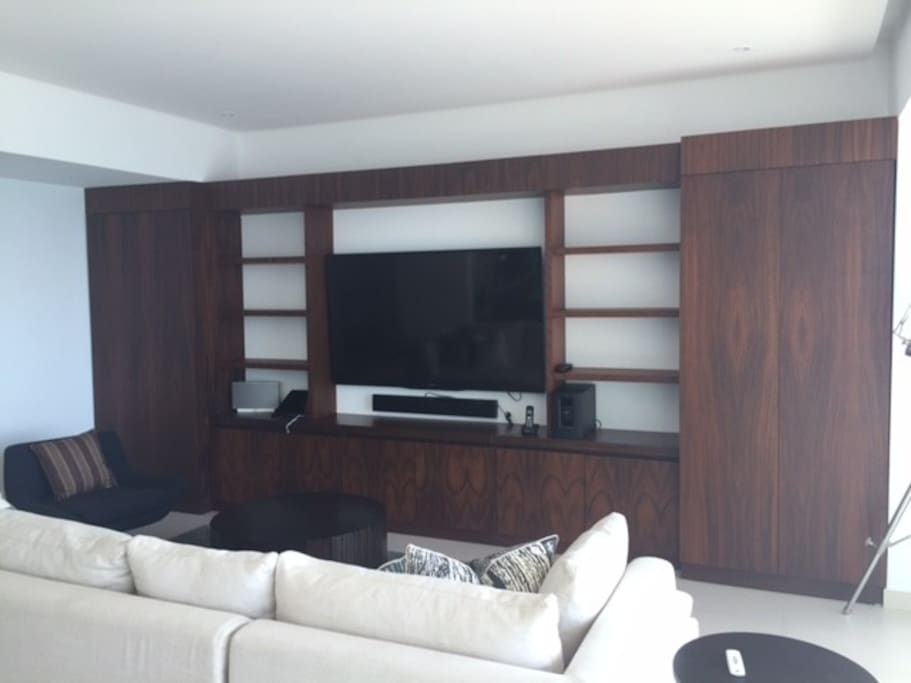 """Living Room 65"""" TV with Bose audio."""