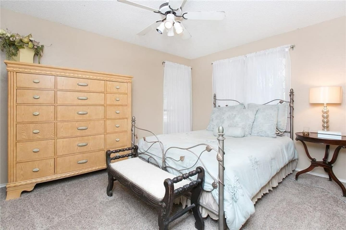 Comfortable Queen size bed with a closet space