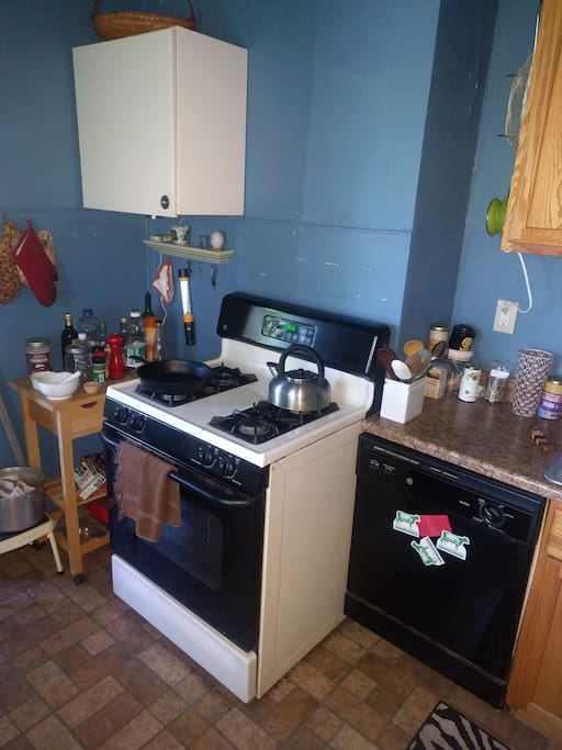 The kitchen is set up to cook