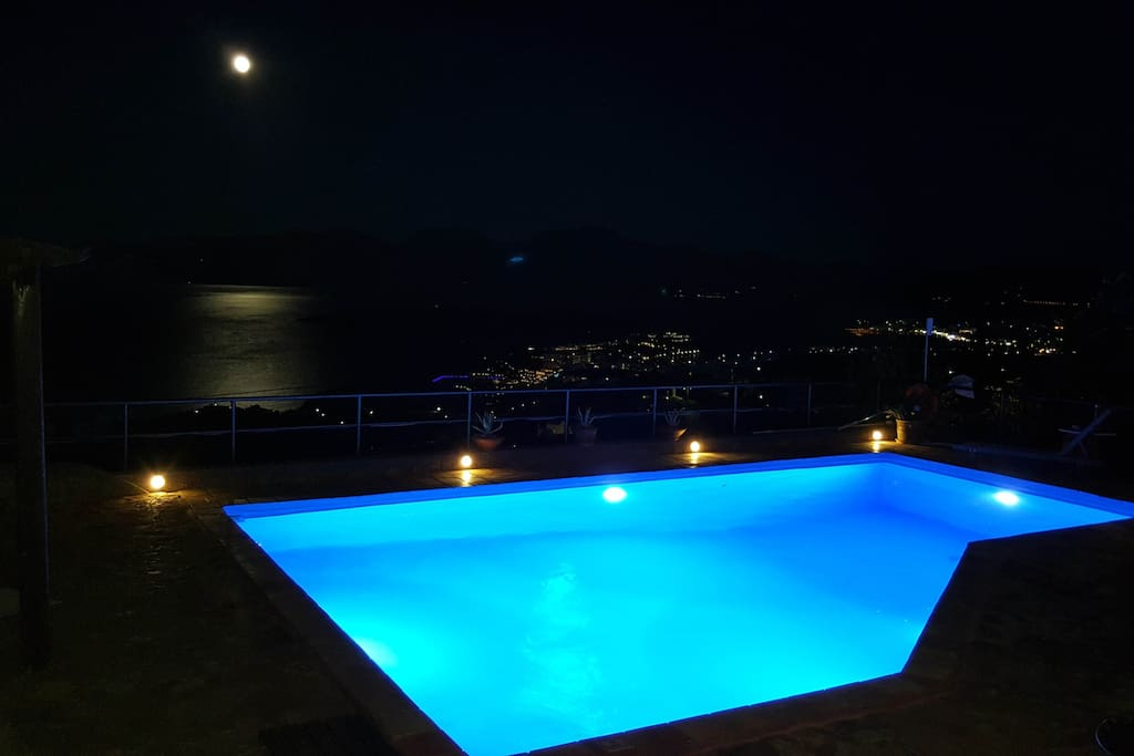 View from the Pool at night!