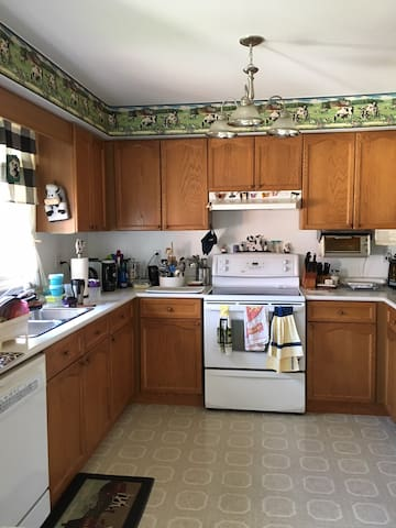 Shared the kitchen, it included fridge, stove, microwave and toasted oven.