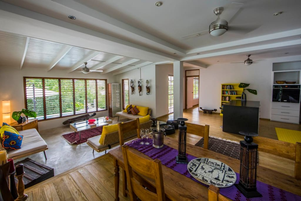 Spacious, modern, beautifully decorated open-plan home with wooden floors.
