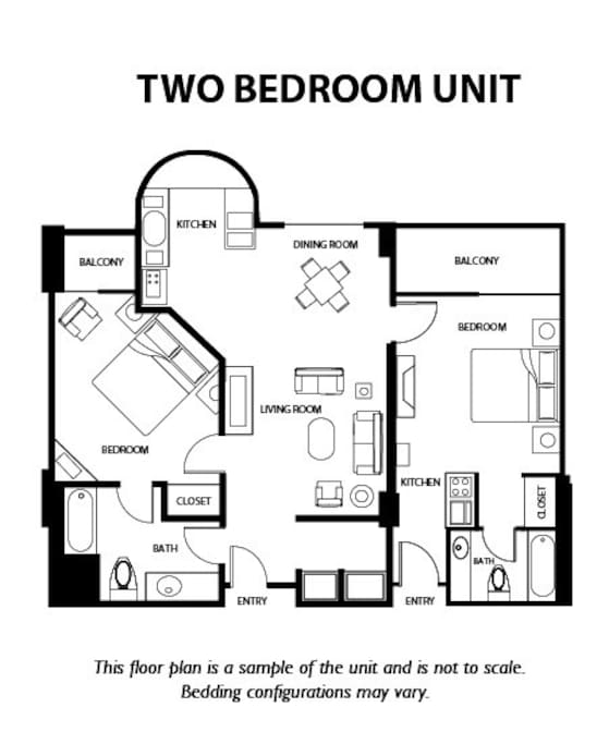 Layout of Room: 2 rooms, 3 beds, 2 bathrooms, 2 balconies, wet bar, front room, and full size kitchen.