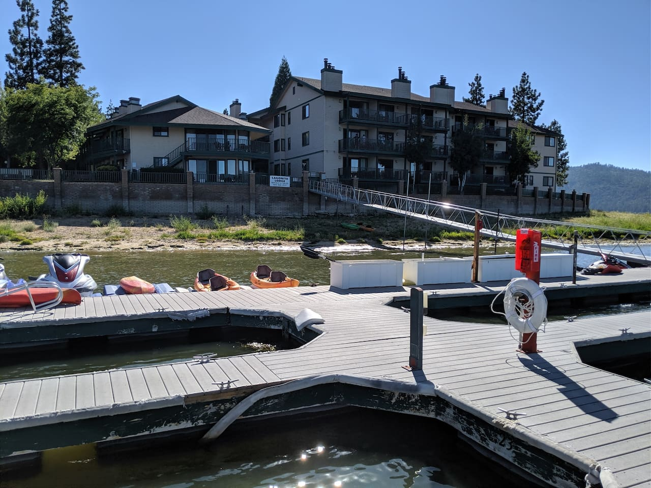 View of lodge showing boat docks with kayaks for rent and places to fish
