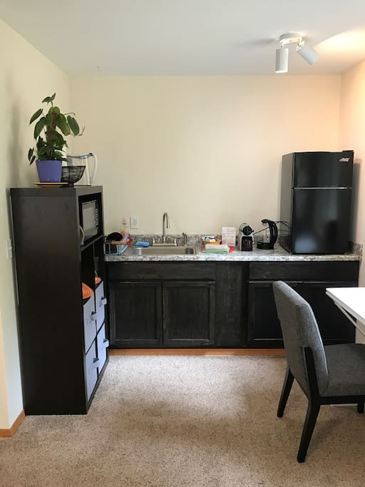 Kitchenette with microwave, toaster oven and small fridge