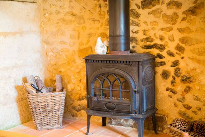 The wood-burner in the lounge.