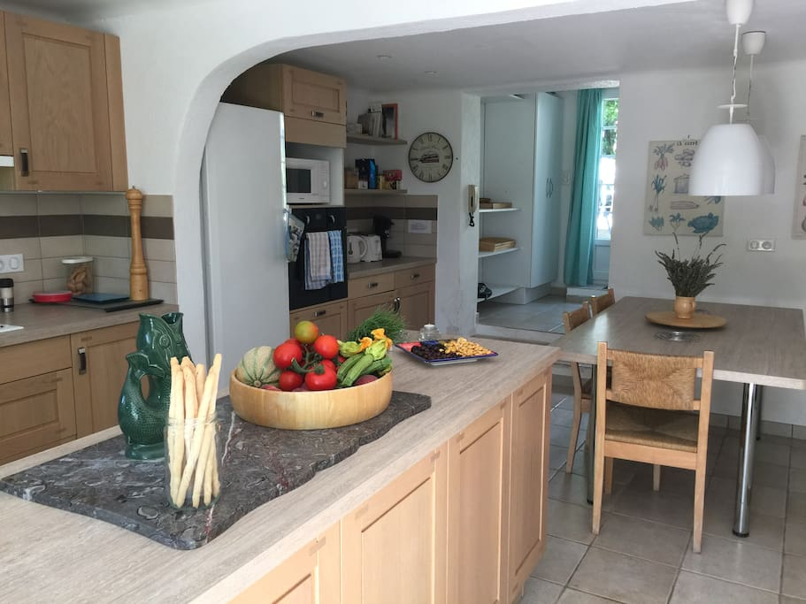 The main kitchen is large and really well equipped.
