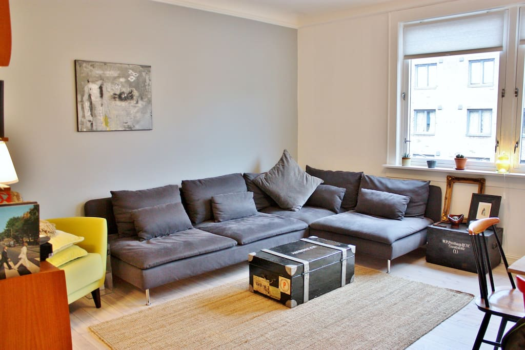The large sofa provides extra sleeping space