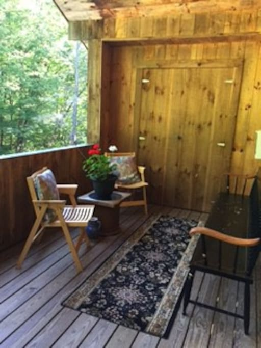 Deck sitting area for woods view