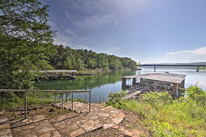 Greers Ferry Lakefront Home w/ Deck & Boat Slips!