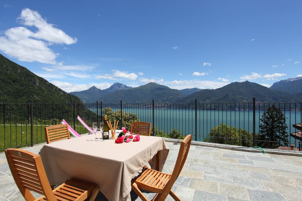 Big terrace with panoramic view and dining set