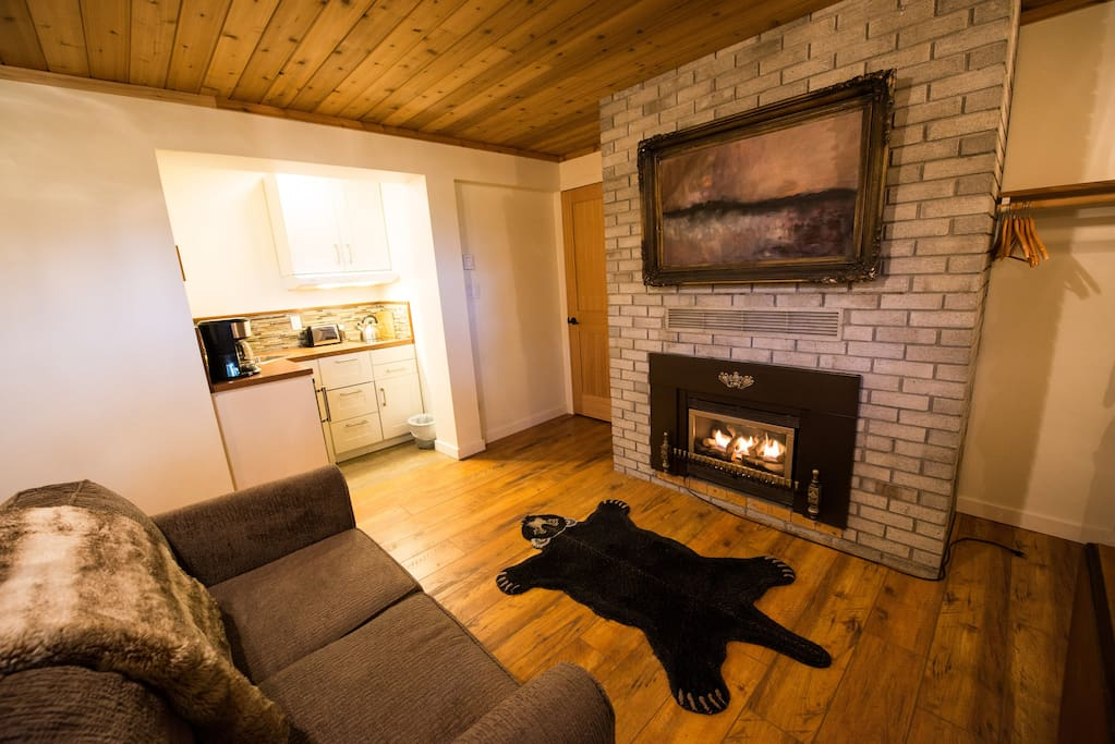 Kitchenette and gas fireplace