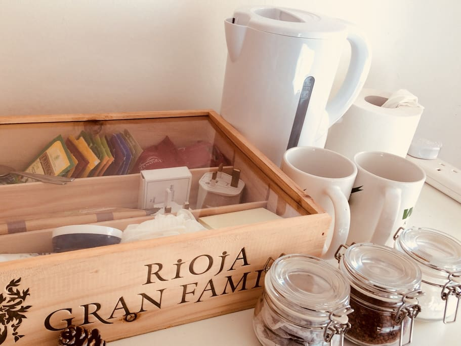 Tea and coffee station, in the spare room for your convenience.