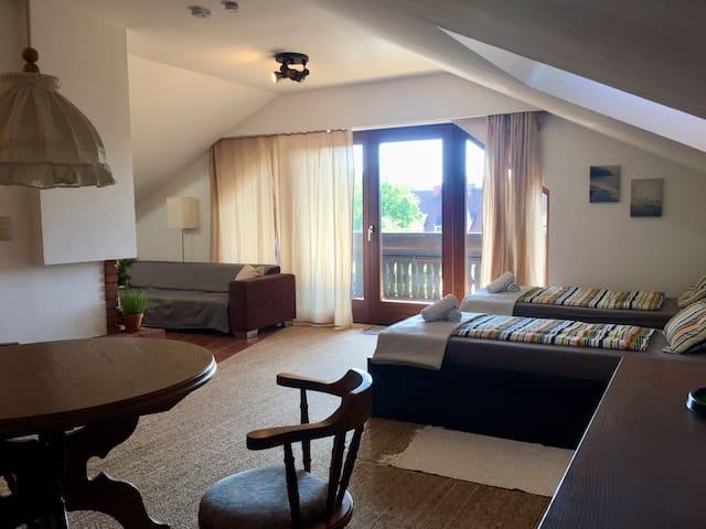 Loft Wohnung mit offenem Kamin und Aussicht