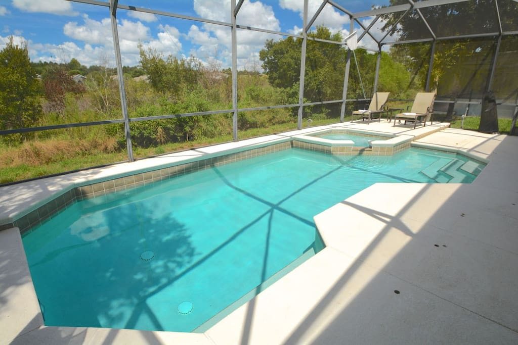 Pool backing onto conservation