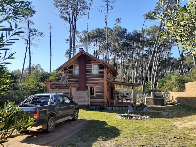 Cabaña de troncos, playa, bosque y tranquilidad