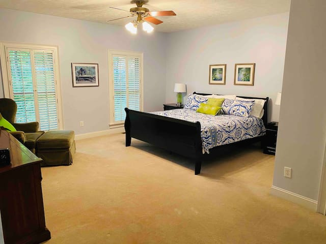 Oversized master suite. Pack and play located in the closet if you have a little one.