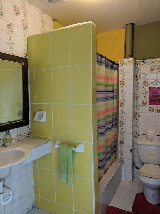 This shared bathroom also has a shower. Just a few steps from the room.