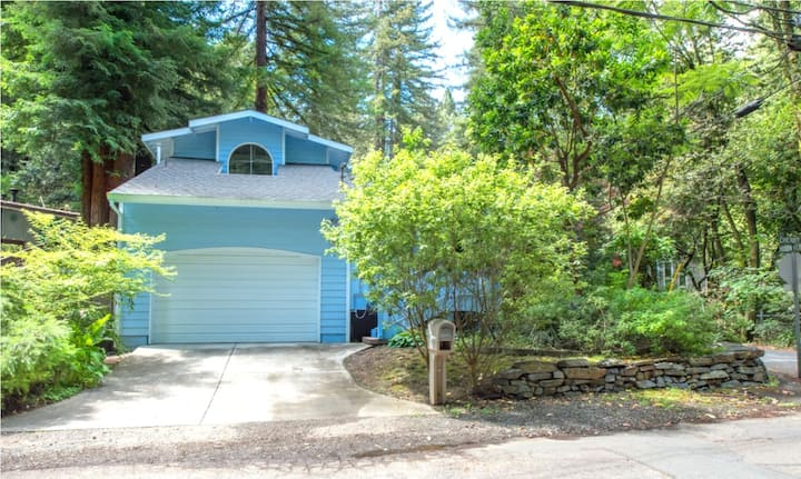 Blue Cherry!  Redwoods! BBQ Grill!  Fire Table!  Ping Pong!  Fast WiFi!!  Dog Friendly!