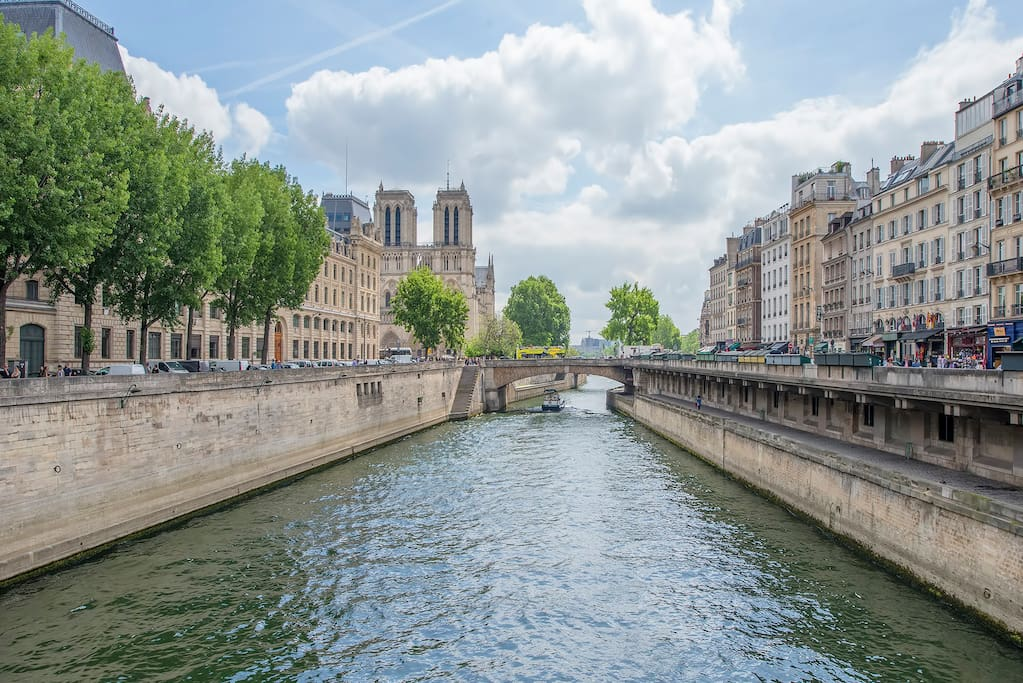 In the heart of Saint-Germain, our flat is 200 meters from Notre-Dame. It is  a charming 55 sqm love-nest with a view on Paris roof tops and the Seine.